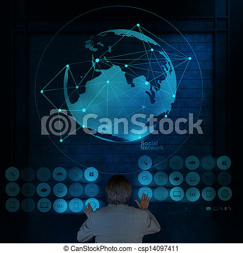 businessman working with new modern computer show social network structure - csp14097411