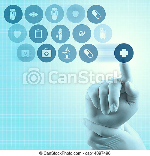 Medicine doctor hand working with modern computer interface - csp14097496