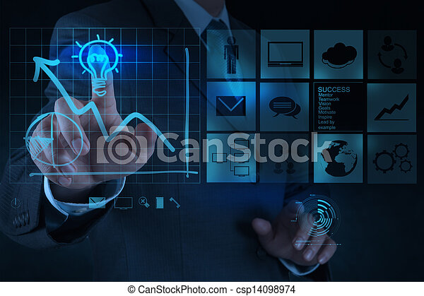businessman hand draws lightbulb with new computer interface as solution business concept - csp14098974