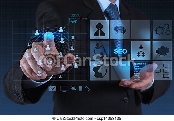 businessman working with new modern computer show social network structure as concept - csp14099109