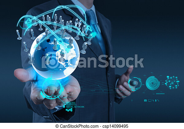 businessman working with new modern computer show social network structure as concept - csp14099495