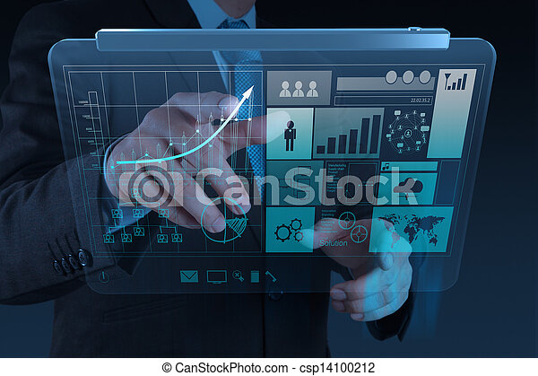 businessman hand working with new modern computer and business strategy as concept - csp14100212