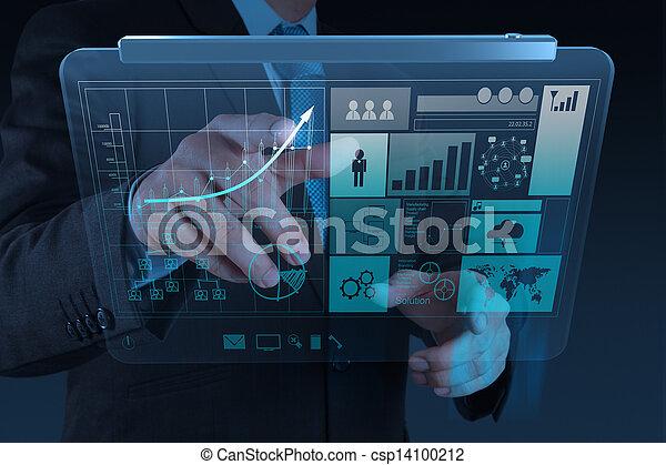 概念, 事務, 工作, 現代, 手, 電腦, 商人, 新, 戰略 - csp14100212