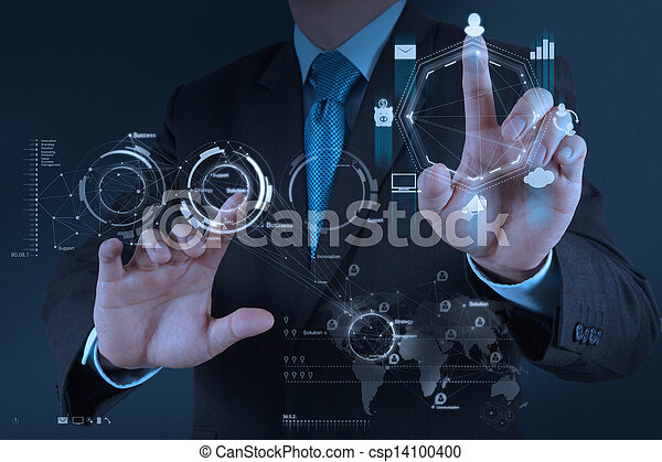businessman hand working with new modern computer and business strategy as concept - csp14100400