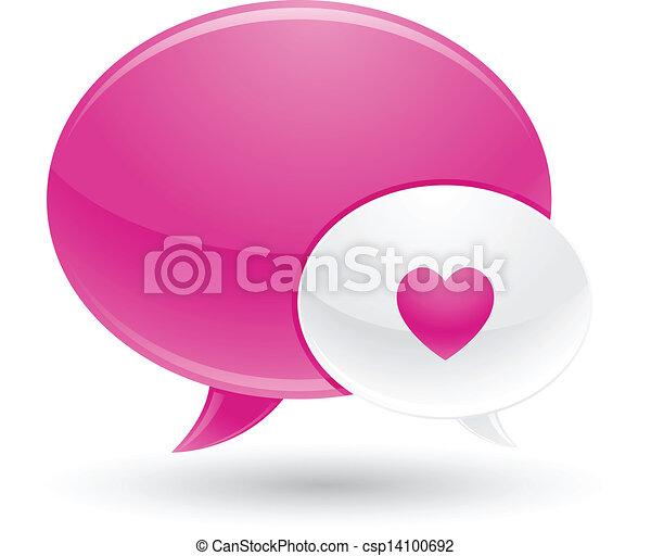 Pink and White Message of Love Icon - csp14100692