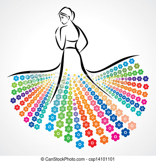 Vector Clipart of glamour girl with decorative dress - an abstract ...