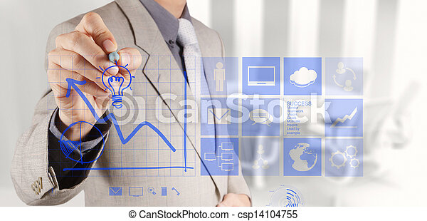 businessman hand draws business success chart - csp14104755