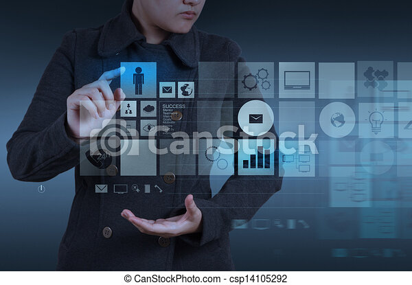 Website designer working with the new computer interface as design concept - csp14105292