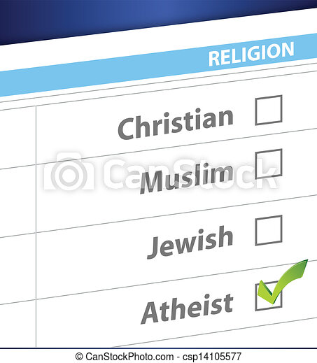 pick your religion blue survey illustration - csp14105577