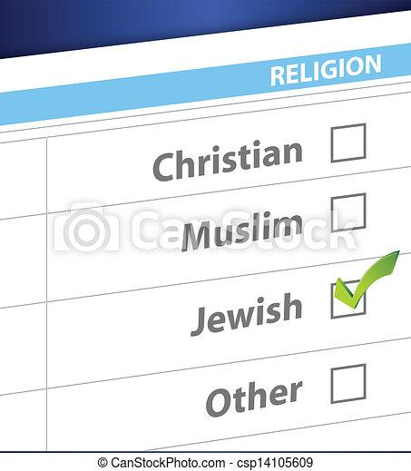 pick your religion blue survey illustration - csp14105609