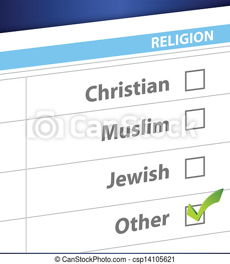 pick your religion blue survey illustration - csp14105621