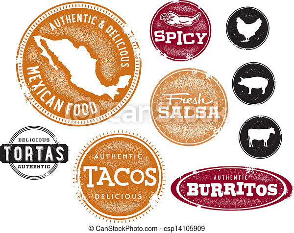 Mexican Food Menu Stamps - csp14105909