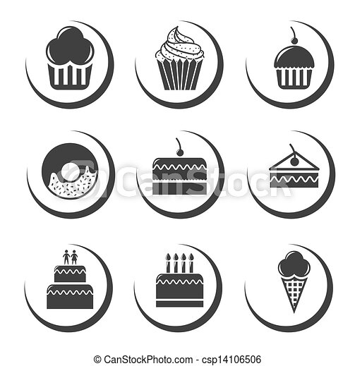 Vector Clipart of cake icons over white background vector ...