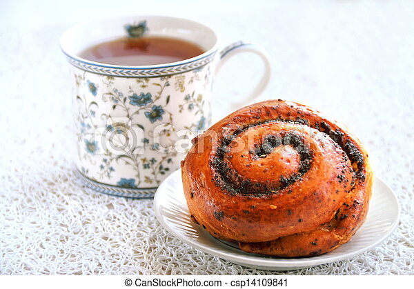 French roll with poppy seeds and cinnamon - csp14109841