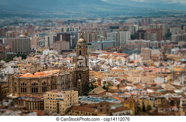 cathedral of malaga aerial vie - csp14112076