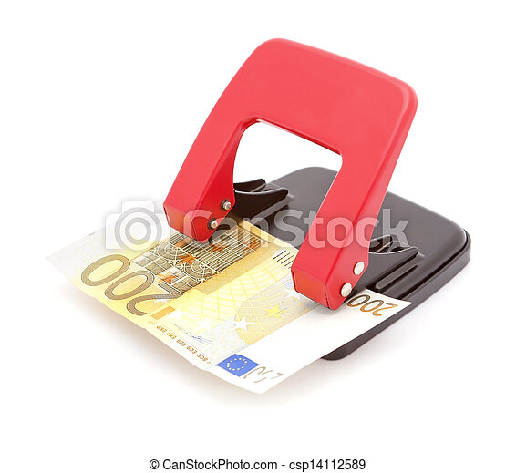 Two hundred euro money in the Hole Punch Unit. Banking and financial concept. - csp14112589