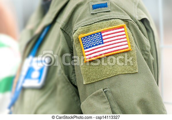 Focus on american flag on USAF uniform of person. - csp14113327