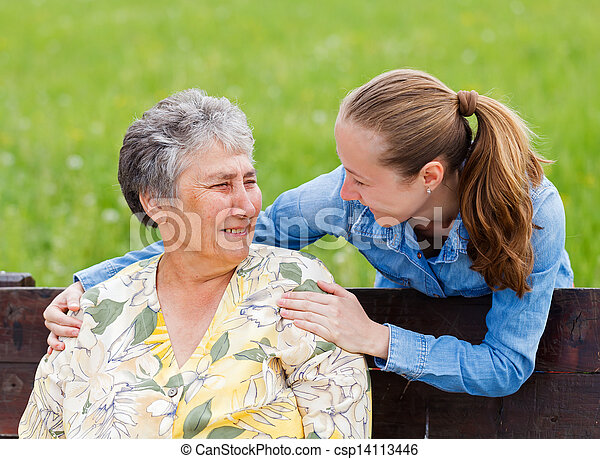 Elderly woman and her daughter - csp14113446