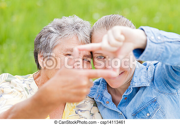 Elderly woman and her daughter - csp14113461