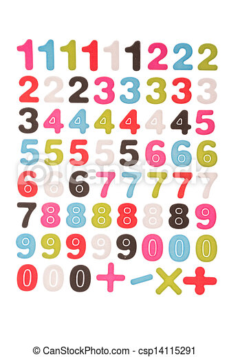 nombres, 1, 2, 3, 4, 5, 6, 7, 8, 9, 0, plus, moins, multiplication, division, Symboles, cliping, sentier - csp14115291