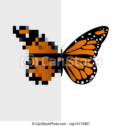Vector - Vector Pixel Art Butterfly - stock illustration, royalty free ...: www.canstockphoto.com/vector-pixel-art-butterfly-14115461.html
