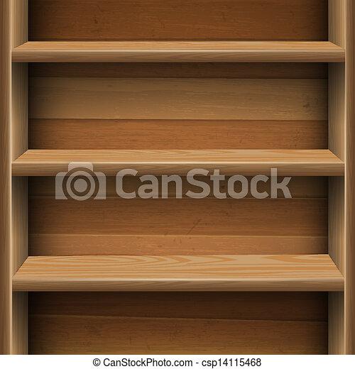 Wooden shelves background - csp14115468