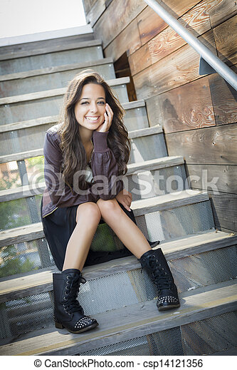Mixed Race Young Adult Woman Portrait on Staircase - csp14121356