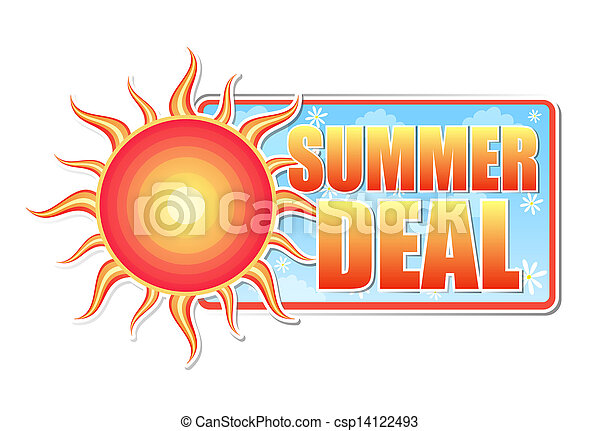 summer deal in label with sun - csp14122493