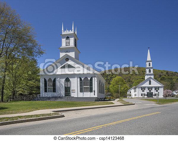Two Vermont white churches - csp14123468