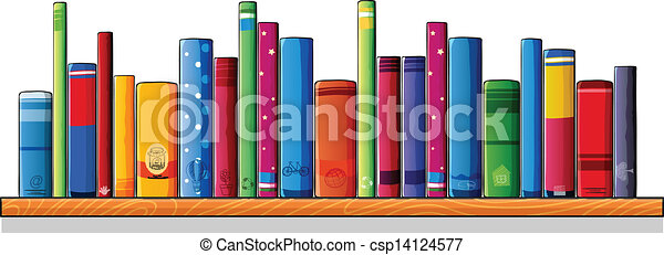 Vectors Illustration Of A Wooden Shelf With Books