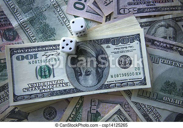 Money and dice for gambling - csp14125265