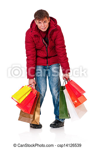 ... man in winter clothing with shopping bags isolated on white background
