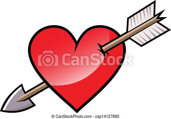 Clip Art Vector of Red heart with arrow. Vector. csp14127660 ...