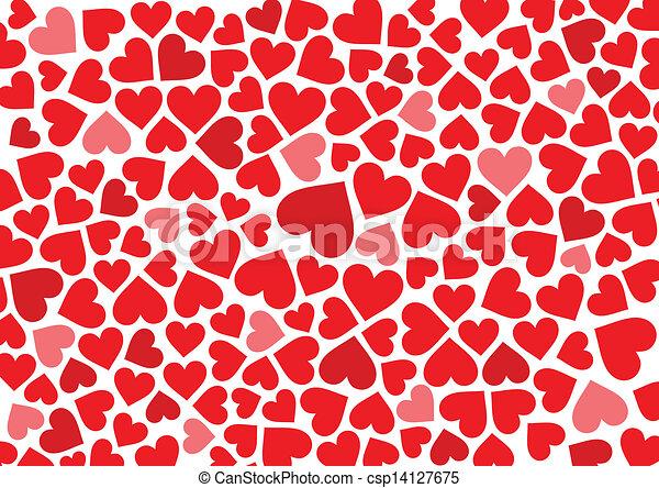Vektorer Illustration av röd, hjärtan, bakgrund, vit ...