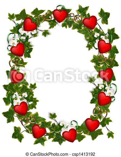 Clip Art of Valentine Border Ivy Wreath Hearts - Image and ...