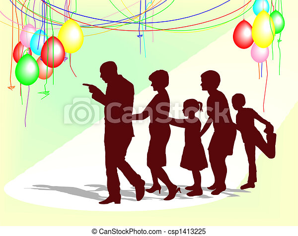 Stock Illustrations of The family celebration - Graphics family ...