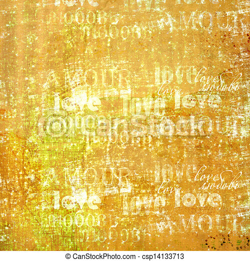 Grunge ancient used paper in scrapbooking style with text and hearts - csp14133713