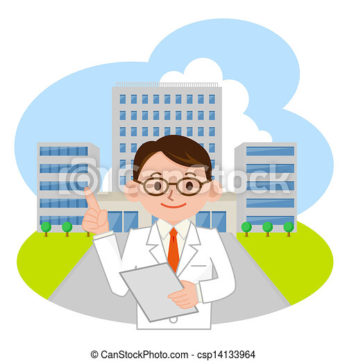 Stock Illustration - Doctor and hospital - stock illustration, royalty ...