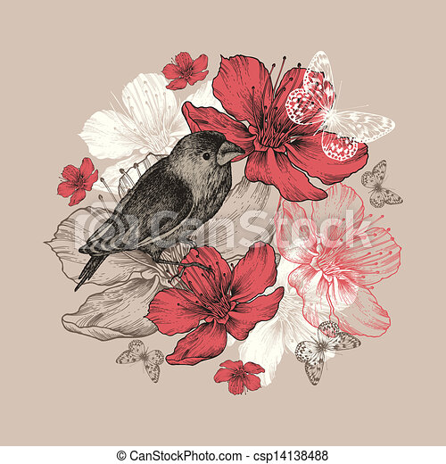 Birds Flowers Drawing Flower Background With Bird