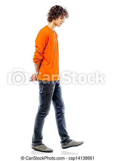 young man walking sad bore side view - csp14138661
