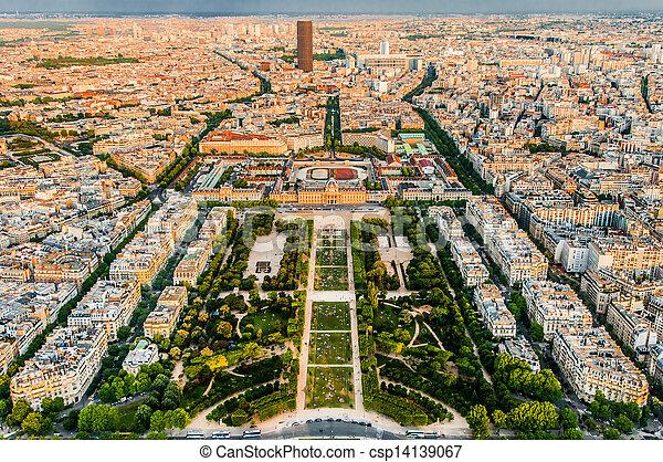 aerial view paris cityscape  France - csp14139067