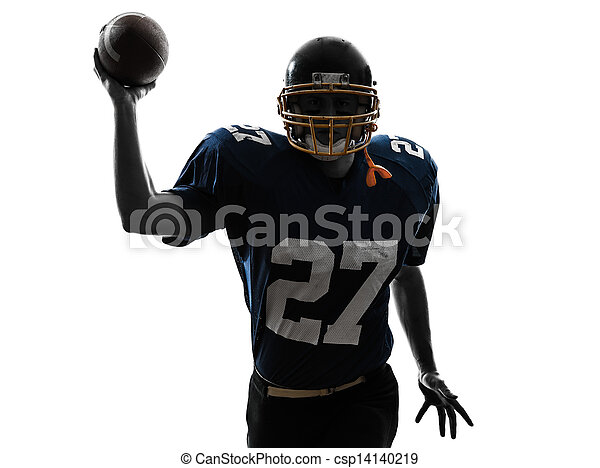 quarterback american throwing football player man silhouette - csp14140219
