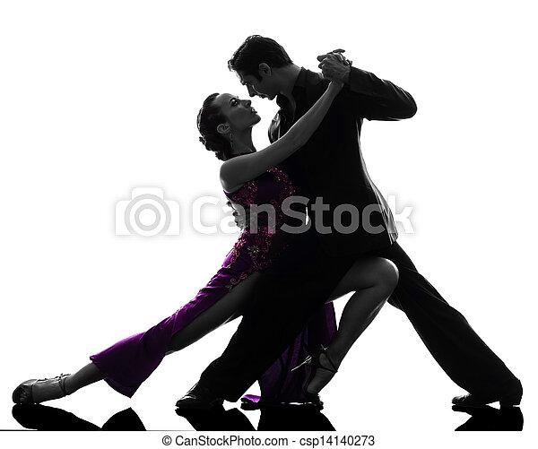 couple man woman ballroom dancers tangoing  silhouette - csp14140273