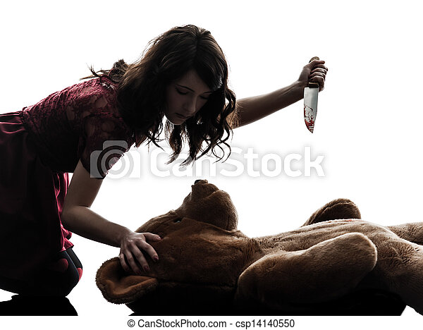 Stock Images of strange young woman killing her teddy bear silhouette ...