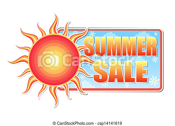 summer sale in label with sun - csp14141619