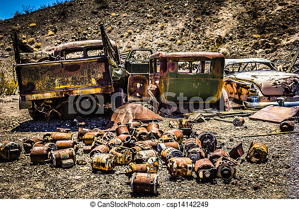 Rusty Automobiles in the Desert - csp14142249