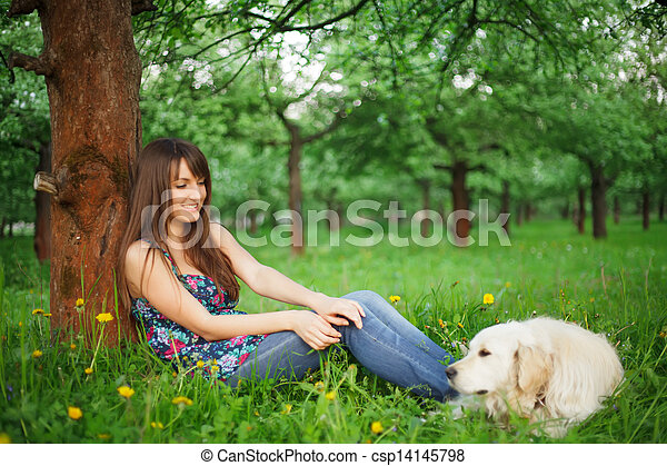 Woman play with her dog - csp14145798