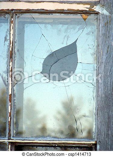 bruten, fönster, glasruta - csp1414713
