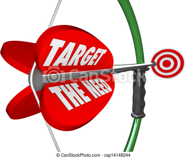 drawing of target the need bow and arrow serving customers