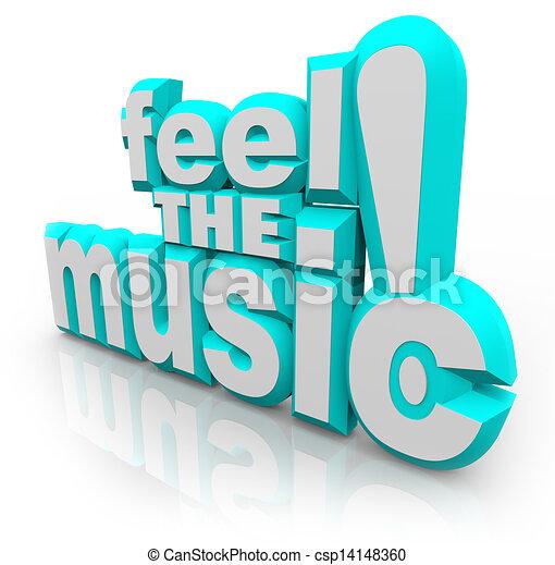 fühlen, Musik, 3D, Wörter, hören, Lied, Klänge, Tanz - csp14148360